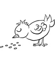 black and white bird eating seed vector image vector image