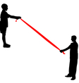 Black silhouettes of people pulling rope vector image