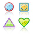 Bright multicolored different forms of clocks with vector image