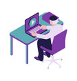 businessman sitting in office chair isometric icon vector image