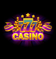 casino banner with 777 and purple ribbon vector image vector image