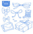 christmas winter set gift bow ribbons letters vector image vector image