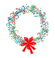Christmas Wreath with Candy Canes and Red Bow vector image vector image