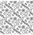 cute doodle seamless pattern with hearts flowers vector image