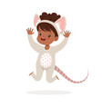 cute happy little girl dressed as a mouse kids vector image vector image