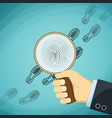 detective holding a magnifying glass fingerprint vector image