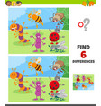 differences game with insects animal characters vector image vector image
