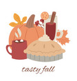 fall tasty food autumn design vector image