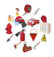 firefighter cartoon icons set vector image vector image