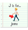 Flashcard letter J is for jeans vector image vector image