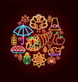 happy thanksgiving day neon concept vector image vector image
