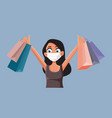 happy woman holding shopping bags cartoon vector image
