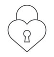 heart lock thin line icon love and padlock love vector image vector image