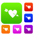 heart with arrow set color collection vector image vector image