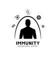 immune system icon logo health bacteria vector image vector image
