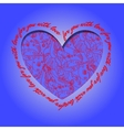 Love card Deep blue red heart design with vector image vector image
