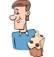 man with cupcake cartoon vector image