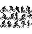 Mountain biker silhouettes vector image