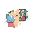 online communication using social network vector image