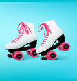 pair of white roller skates with pink shoelaces on vector image vector image