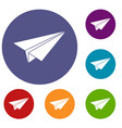 paper airplane icons set vector image vector image