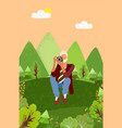 photographer with camera sitting on meadow nature vector image vector image
