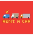Pixel art rent a car card vector image vector image
