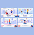 pregnant woman happy life flat banners set vector image vector image