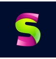 S letter green and pink logo design template vector image