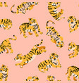 seamless pattern with tigers child style vector image vector image