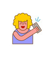 selfi icon woman takes picture of herself on phone vector image vector image