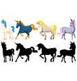 set cute unicorn cartoon character vector image