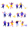 set flat people family walks in park vector image