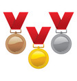 set gold silver and bronze medals vector image vector image