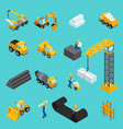 set isometric icons for construction workers vector image vector image