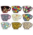 Set of cute tea cups with patterns vector image vector image
