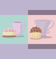 set of delicious cupcakes with cups vector image vector image