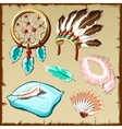 Set of feathers dream catcher pillow and other vector image vector image