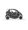 small smart car sketch for your design vector image vector image