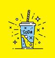 soft drink soda line icon vector image vector image