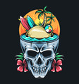 summer skull contains surf board coconut tree vector image vector image