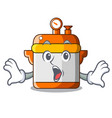surprised electric rice cooker isolated on cartoon vector image