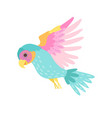 tropical parrot bird with colored plumage flying vector image vector image