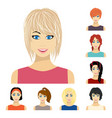 types of female hairstyles cartoon icons in set vector image