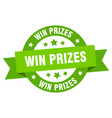 win prizes ribbon win prizes round green sign win vector image vector image