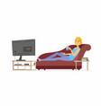 woman watching tv - cartoon people character vector image