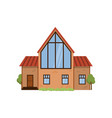 wooden modern two-story house with huge front vector image vector image