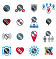 Teamwork business team and cooperation icons set vector image