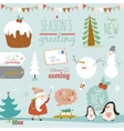 Christmas calligraphic wishes and winter elements vector image