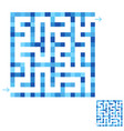 abstract simple square isolated labyrinth blue vector image